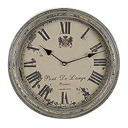 Benzara Metal Wall Clock, A Vintage Metallic Clock