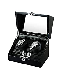 OLYMBROS Wooden Automatic Double Watch Winder Storage Box for 2 Watches