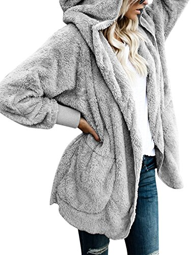 SVALIY Womens Fuzzy Fleece Loose Open Front Hooded Cardigan Coats Outwear (Fleece Lined Hooded Cardigan)