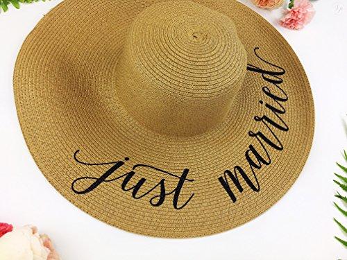 ... Just Married Honeymoon Beach Floppy Hat de9227d59e7