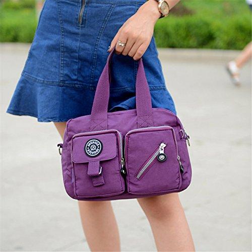 Lightweight Pockets Handle Nylon Azure Pure TianHengYi with Zipper Color Handbag Top Crossbody Satchel Girls qTBHSxt