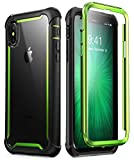 iPhone X Case,iPhone XS Case, i-Blason [Ares] Full-Body Rugged Clear Bumper Case with Built-in Screen Protector for Apple iPhone X 2017/ iPhone XS 2018 (Green)