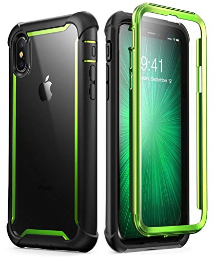 i-Blason Case for iPhone X 2017/ iPhone Xs 2018, [Ares] Full-Body Rugged Clear Bumper Case with Built-in Screen Protector (Green)