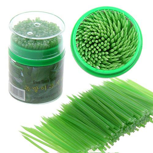 Funnytoday365 Beige/Green Korean Crystal Corn Starch Toothpick Mondadientes Edible 200Pcs In Plastic Box