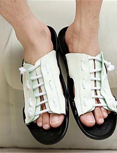ShangYi Herren Sandaletten Herrenschuhe - Lässig - Sandalen - Kunstleder - Schwarz / Gelb / Weiß Black