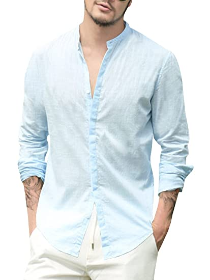 84d7e960bca YOMISOY Mens Shirts Long Sleeve Summer Casual Button Down Slim Fit Linen  Shirts Blue