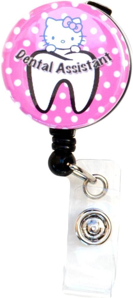 New Custom Bling Rhinestone Dental Kitty Badge Reel Retractable ID Badge Holder Dental Assistant