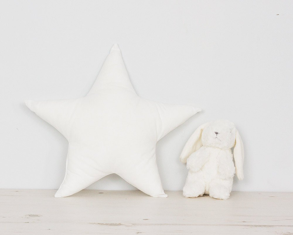 Baby gift Nursery Star pillow kids room decor decorative throw cushion, white minimalist scandinavian style