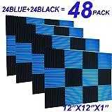 48 Pack Black blue 1'' x 12'' x 12'' Acoustic Wedge Studio Foam Sound Absorption Wall Panels