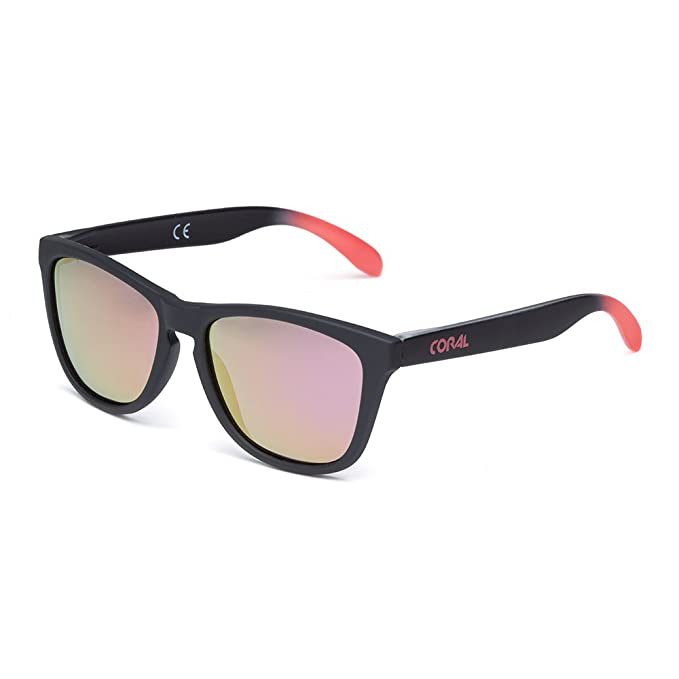 ad7828b62b CORAL Sunglasses - ACUARELA - Gafas de sol negras y lentes espejo revo  morado polarizadas. Acabado mate engomado.: Amazon.es: Ropa y accesorios