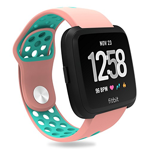 (For Fitbit Versa Bands, Penta Stars Silicone Waterproof Band for Women and Men Fits Small & Large Wrists with Two Tone Slim Breathable Sport Design, Pink/Teal, S)