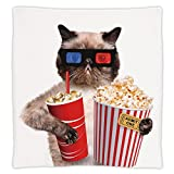 Super Soft Throw Blanket Custom Design Cozy Fleece Blanket,Movie Theater Decor,Cat with Popcorn and Drink Watching Movie Glasses Entertainment Cinema Decorative,Multicolor,Perfect for Couch Sofa or Be