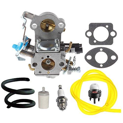 Hipa WTA-29 Carburetor with Fuel Line Filter Spark Plug for Husqvarna 455E 455 Rancher 460 461 Gas Chainsaw (Carburetor Hose Kit)