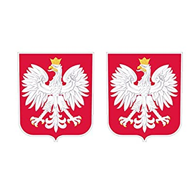 Two Pack Polish Coat of Arms Sticker FA Graphix Decal Self Adhesive Vinyl Poland Flag POL PL: Automotive