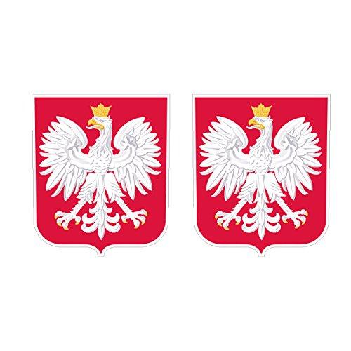 Two Pack Polish Coat of Arms Sticker FA Graphix Decal Self Adhesive Vinyl Poland Flag POL PL (Polish Flag Car Decal)