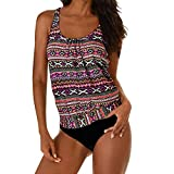 YOcheerful Women Tankini Set, Womens Swimwear Bathing Suits Swimming Swimsuit Beachwear Tankini Set Hawaii Tankini Hot Pink