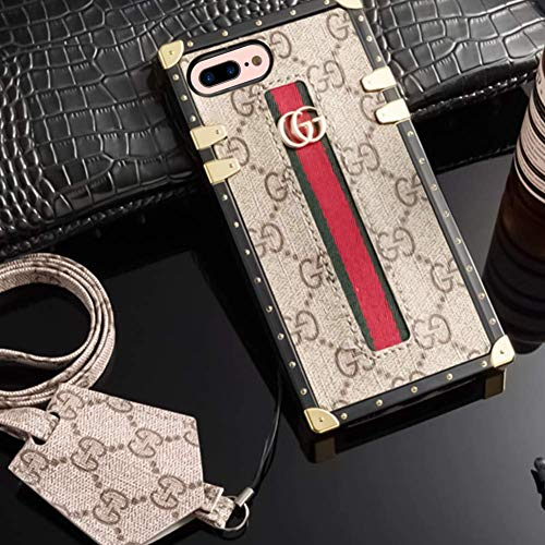 New Classic Elegant PU Leather Style Cases Cellphone Back Cover Case for iPhones 7/8 Plus Full Protect Case with Long Rope (Brown1) (Beige)     ()
