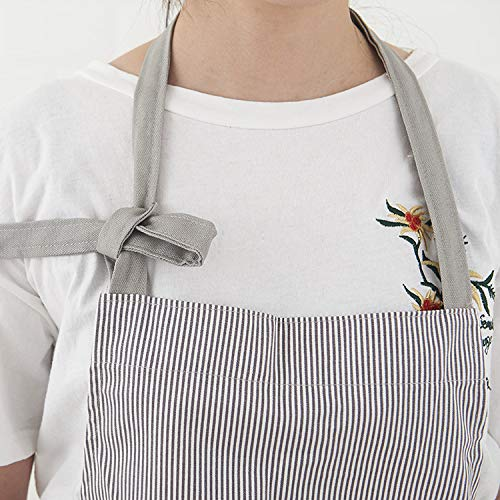 Waitworth Cotton Canvas Bib Apron 2 Pockets Adjustable Neck Strap Waterproof Apron Cooking Kitchen Crafting Artist Gardening Aprons for Women Men Adults - 1 Pcs (Grey)