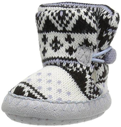 MUK LUKS Baby All Over Slipper Slide, Black Snowflake, 6-12 Months M US Infant