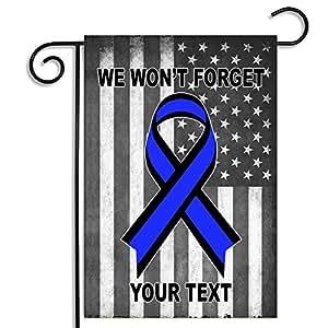 Fina línea azul personalizado no nos olvidemos de jardín bandera W absorbente coche posavasos