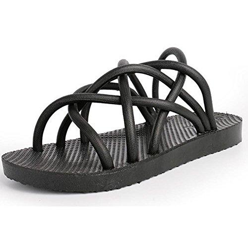SHANGXIAN Parejas salvajes Flip Flops sandalias blanco negro (Compro uno, conseguir dos pares) Black