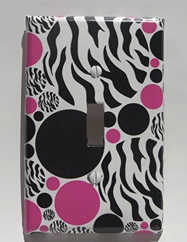 Zebra Print Dots Light Switch Plate Cover / Animal Print Wall Decor with Zebra Print, Hot Pink and Black Dots