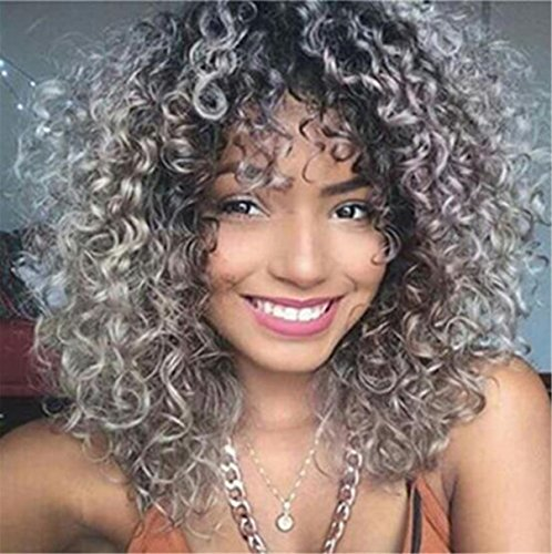 Ombre Grey Synthetic Wigs For Women Heat Resistant Short Bob Natural Kinky Curly Afro No Lace Wigs (grey)