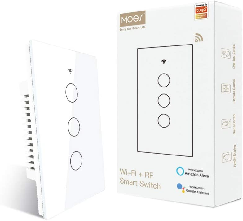 MOES WiFi Touch Wall Smart Switch Single Pole or 3 Way Multi-Control Association, Glass Panel Smart Light Switch Work with Smart Life/Tuya App, RF433 Remote Control, Alexa and Google Home White 3 Gang