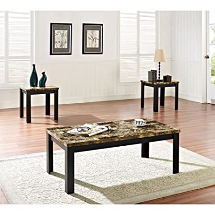 Beau Faux Marble 3 Piece Coffee And End Table Set, Multiple Colors