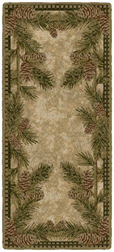 Brumlow Mills Pine Cone Gingham Kitchen Rug, 20-Inch by 44-Inch, Dark Green