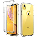 SKYLMW iPhone XR Case, Shockproof Protection Hard Plastic & Soft TPU Sturdy Armor Built-in Screen Protector Cover Case for iPhone XR 6.1 inch 2018,Clear