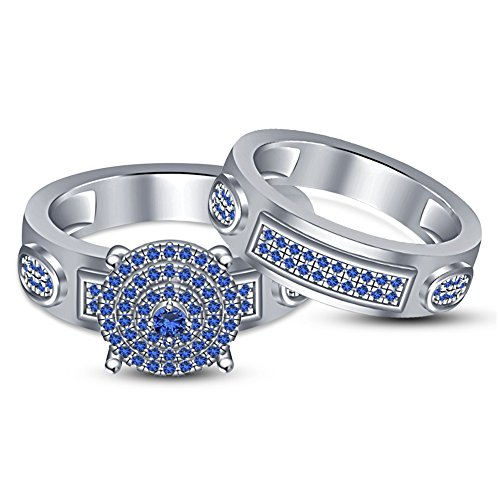 TVS-JEWELS Bridal Wedding Engagement Ring Set Round Cut Blue Stone 925 Sterling Silver White Plated (7) by TVS-JEWELS