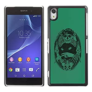 Shell-Star Art & Design plastique dur Coque de protection rigide pour Cas Case pour SONY Xperia Z2 / D6502 / D6503 / D6543 / L50W / L50t / L50u ( Green Cat Death Bones Skeleton Black )