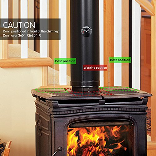 Sonyabecca Heat Powered Stove Fan with Magnetic Thermometer 4 Blade Wood Stove Fans Aluminium Silent Eco-Friendly for Wood Log Burner Fireplace by Sonyabecca (Image #1)