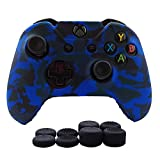Hikfly Silicone Gel Controller Cover Skin Protector Kits for Xbox One Controller Video Games(1 x Controller Camouflage cover with 8 x Thumb Grip Caps)(Blue) Review