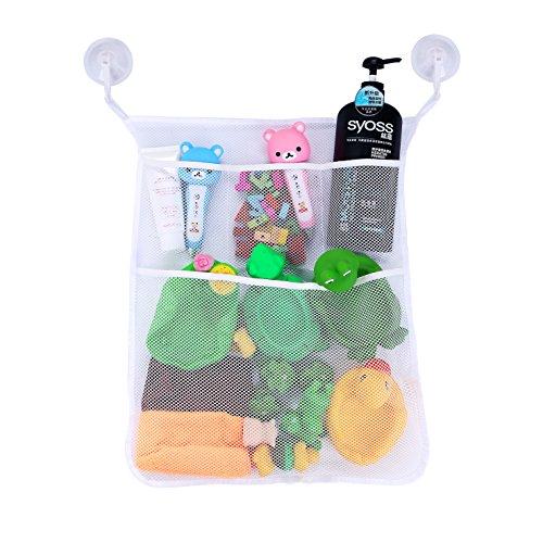 (Yihoon Bath Toy Organizer Shower Caddy - for Bathroom Baby Toy Storage Quick Dry Bathtub Mesh Net + 4 Soap Pockets with Suction Hooks)