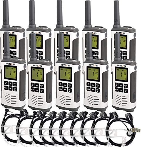Retevis RT45 Two Way Radio Rechargeable FRS Dual Watch Flashlight 10 Call Tones Private Code Roger Beep Security Walkie Talkie with Earpiece (10 Pack)