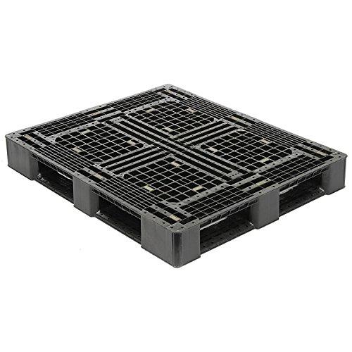 Rackable Plastic Pallet (48x40 Rackable Plastic Pallet, Black, HDPE, 4000 Lbs Fork Capacity)