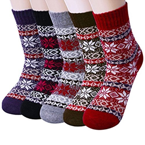 - Yaheeda 5 Pairs Womens Cold Weather Soft Warm Thick Knit Crew Casual Winter Wool Socks (Multicolor 05)