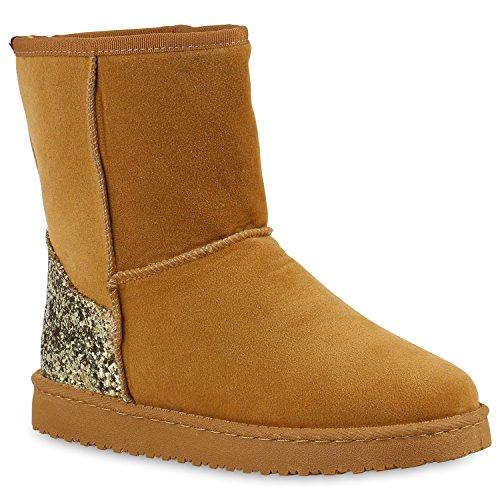 Damen Schlupfstiefel Warm Gefütterte Stiefel Stiefeletten Winter Boots Bommel Pailletten Glitzer Snake Print Schuhe Flandell Hellbraun Glitzer