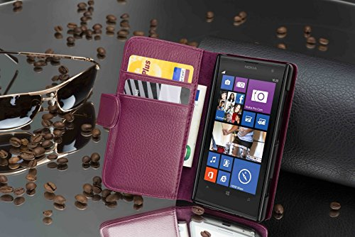 Cadorabo - Funda Nokia Lumia 1020 Book Style de Cuero Sintético en Diseño Libro - Etui Case Cover Carcasa Caja Protección con Tarjetero en BURDEOS-VIOLETA BURDEOS-VIOLETA