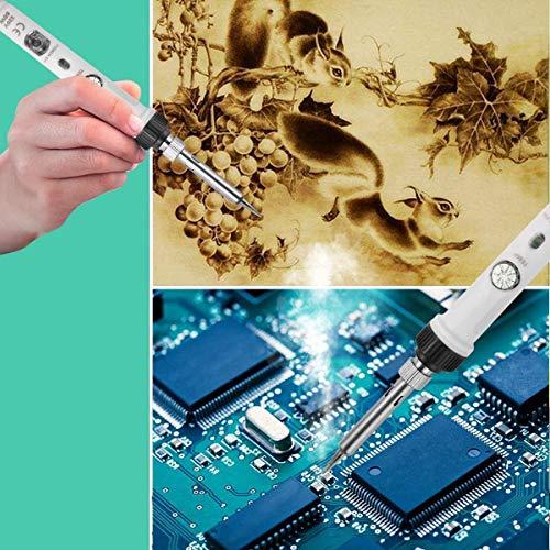 Soldadores de Estaño Electronica, SREMTCH [Nuevo Diseño] 60W Kit del Soldador de 220 ℃ a 480℃ Temperatura Ajustable con Interruptor 5pcs Puntas Diferentes, Soporte, Alambre de Soldadura