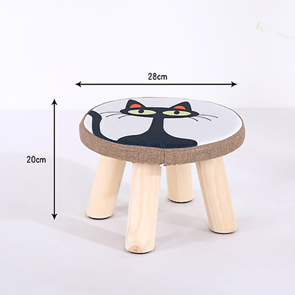 D&L Solid wood Cartoon Footstool,Ottoman Pouffe Round Chair Stool Fabric Cover 4 legs And Removable Linen Cover-E 28x20cm