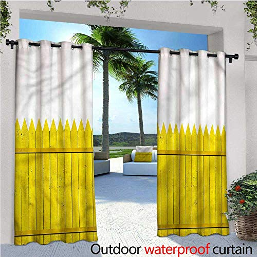 warmfamily Yellow Outdoor- Free Standing Outdoor Privacy Curtain Wooden Picket Fence for Front Porch Covered Patio Gazebo Dock Beach Home W120 x L84