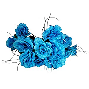 MM TJ Products Artificial Turquoise Roses Bouquet (2) 72