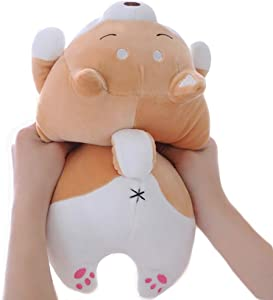 Shiba Inu Dog Plush Pillow, Soft Cute Corgi Stuffed Animals Doll Toys Gifts for Valentine, Christmas, Birthday, Bed, Sofa Chair (Brown Smiling Eye, 13.5in)