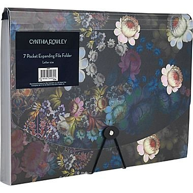 Cynthia Rowley 7 Pocket Expanding File Folder, Letter Size, Cosmic Black Floral