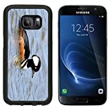 MSD Premium Samsung Galaxy S7 Aluminum Backplate Bumper Snap Case Male Hooded Merganser Lophodytes cucullatus swimming in blue water IMAGE 29989368