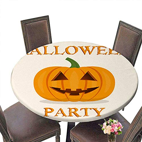 Round Table in Washable Polyeste Halloween Party Banner with Pumpkin Vector Illustration Banquet Wedding Party Restaurant Tablecloth up to 59.5
