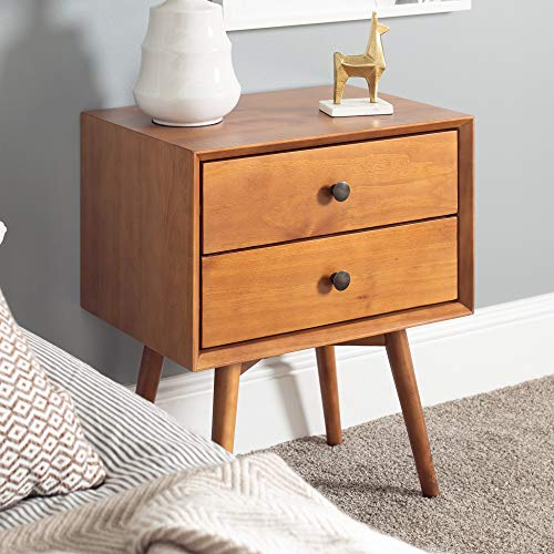 Walker Edison Furniture Company Mid Century Modern Wood Nightstand Side Bedroom Storage Drawer Bedside End Table, 2, Caramel